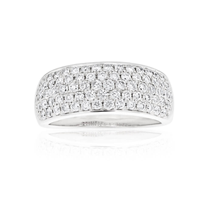 9ct White Gold Brilliant Diamond Pave Ring with 1 Carat of Diamonds