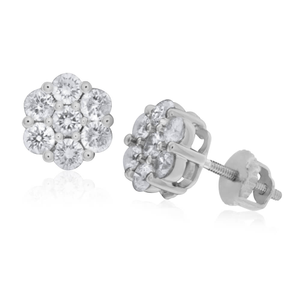 9ct White Gold Enticing Diamond Stud Earrings