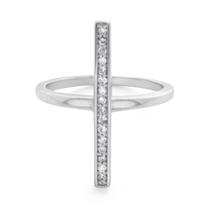 9ct White Gold Diamond Ring Set With 16 Brilliant Diamonds