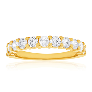 18ct Yellow Gold Ring With 10 Brilliant Cut Diamonds Totalling 1 Carat