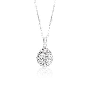 9ct White Gold Diamond Pendant With 46cm Chain