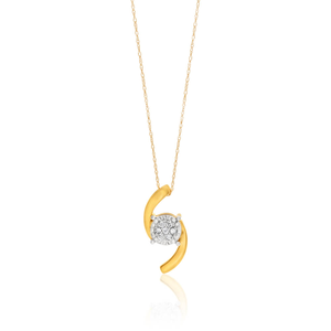 9ct Yellow Gold Diamond Pendant With 46cm Chain