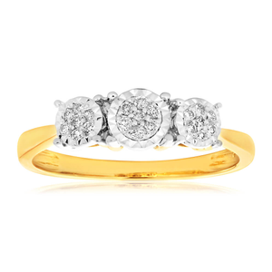 9ct Yellow Gold Diamond Ring Set with 21 Stunning Brilliant Diamonds
