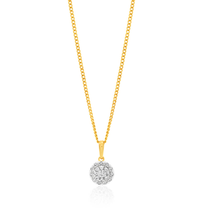 9ct Yellow Gold Diamond Pendant Set with 20 Brilliant Diamonds