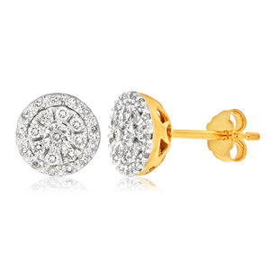 9ct Yellow Gold Brilliant Diamond Stud Earrings