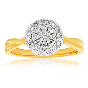 9ct Yellow Gold Diamond Ring Set with 26 Stunning Brilliant Diamonds