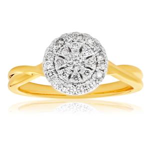 9ct Yellow Gold Diamond Ring Set with 26 Stunning Brilliant Diamonds
