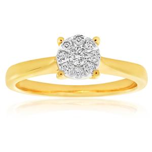 9ct Yellow Gold Diamond Ring Set with 9 Stunning Diamonds