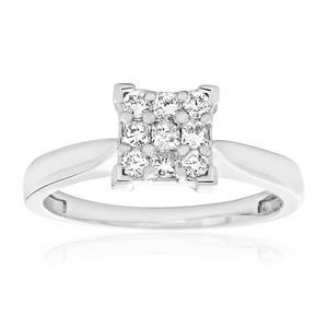 9ct White Gold Diamond Ring Set With 5 Princess and 4 Brilliant Diamonds