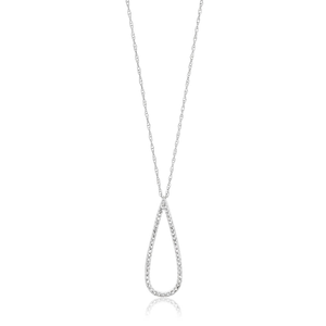 9ct White Gold Radiant Diamond Pendant With 45cm Chain