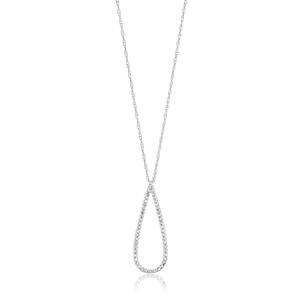 9ct White Gold Radiant Diamond Pendant With 45cm Chain