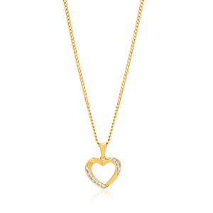 9ct Yellow Gold Diamond Gorgeous Heart Pendant