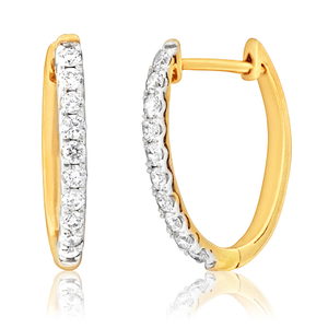 10ct Yellow Gold Hoop Earrings With 25 Points Of Diamonds