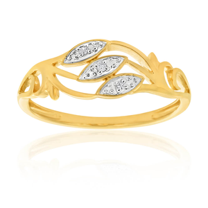 9ct Yellow Gold 3 Diamond Stunning Ring