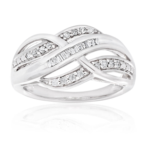 9ct White Gold Diamond Ring Set With A Combination Of Tapered and Brilliant Diamonds