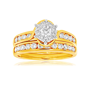 9ct Yellow Gold & White Gold 2 Ring Bridal Set with 1 Carat Of Diamonds