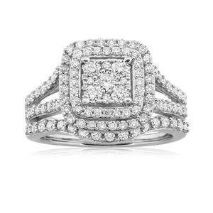 9ct White Gold 2 Ring Bridal Set With 1.2 Carats Of Diamonds