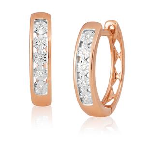 9ct Rose Gold Diamond Hoop Earrings