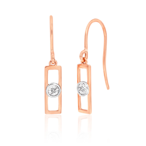 9ct Rose Gold Diamond Rectanglar Drop Earrings