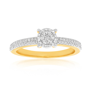 9ct Yellow Gold Ring With 0.15 Carats Of Brilliant Cut Diamonds