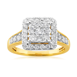 9ct Yellow Gold Diamond Ring Set With 37 Brilliant Cut Diamonds