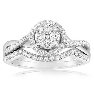 9ct White Gold 2 Ring Bridal Set With 0.6 Carats Of Diamonds