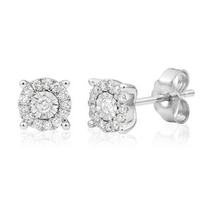 9ct White Gold Lovely Diamond Stud Earrings