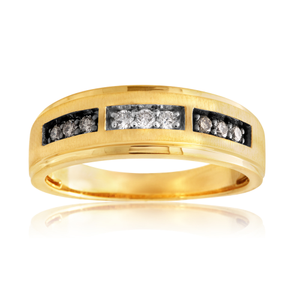 10ct 0.25 Carat Yellow Gold Ring Set With White and Champagne Diamonds