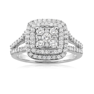 9ct White Gold Diamond Ring Set With 91 Beautiful Diamonds