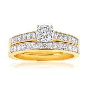 9ct 1.00 Carat Bridal Set in Yellow Gold