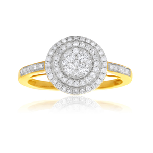 9ct Yellow Gold 1/2 Carat Halo Diamond Ring