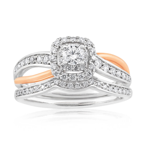 Blissful Bride  14ct White Gold Diamond Bridal Set with Rose Gold Rhodium