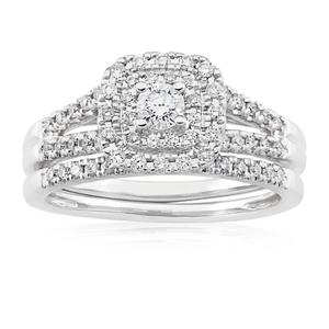 Blissful Bride 14ct White Gold 0.55 Carat Diamond Halo Bridal Set