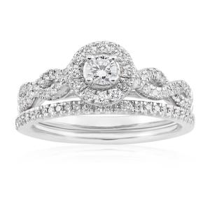 Blissful Bride 14ct White Gold 0.5 Carat Diamond Halo Bridal Set