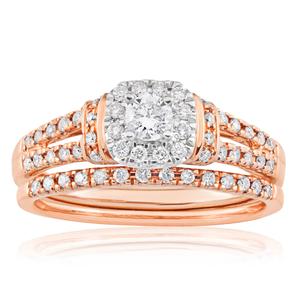 Blissful Bride 14ct Rose Gold 0.5 Carat Diamond Halo Bridal Set