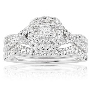 Blissful Bride 14ct White Gold 0.55 Carat Diamond Swril Halo Bridal Set