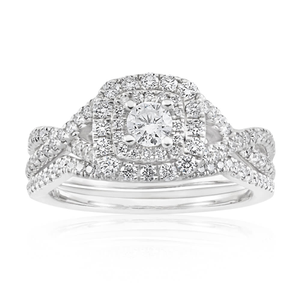 Blissful Bride 14ct White Gold 0.8 Carat Diamond Double Halo Bridal Set