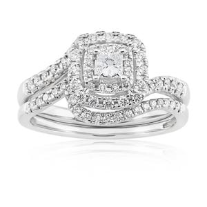 Blissful Bride 14ct White Gold 0.55 Carat Diamond Double Halo Bridal Set