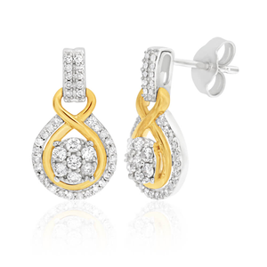 9ct Elegant White Gold Diamond Drop Earrings