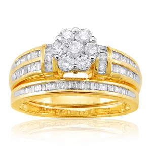 9ct Yellow Gold 2 Ring Bridal Set With 1 Carat Of Mixed Cut Diamonds