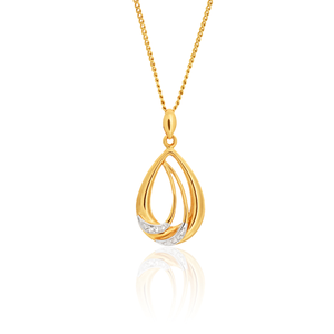 9ct Yellow Gold Diamond Pendant Set with 2 Brilliant Diamonds