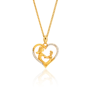 9ct Yellow Gold Diamond Mother & Child Heart Pendant