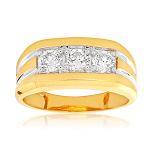 9ct Yellow Gold Diamond Ring Set With 3 Brilliant Cut Diamonds