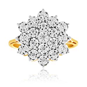 9ct Yellow Gold Diamond Ring Set With 19 Brilliant Cut Diamonds
