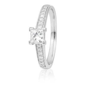 18ct White Gold 0.65 Carat Diamond Ring with 1/2 Carat GI SI Certified Centre Diamond