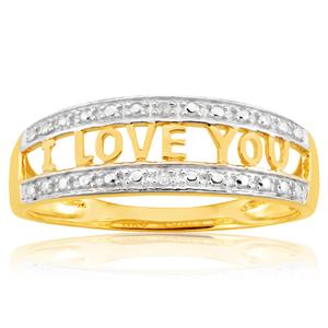 "9ct Yellow Gold Diamond ""I LOVE YOU"" Ring"