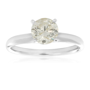14ct White Gold Solitaire Ring With 1 Carat Brilliant Cut 4 Claw Set Diamond