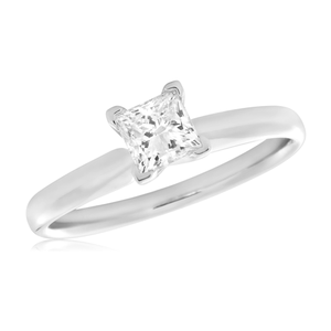 14ct White Gold 1 Carat Princess Cut Diamond Solitaire Ring in 4 Knife Edge Setting