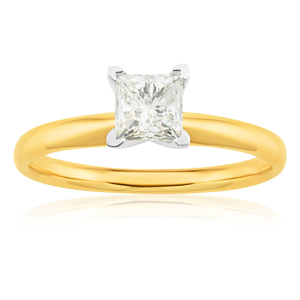 14ct Yellow Gold Solitaire Ring With 70 Point Princess Cut Diamond