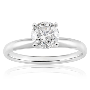 14ct White Gold 1 Carat Brilliant Cut Diamond Solitaire Ring in Knife Edge Setting